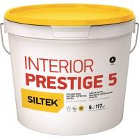 Краска Siltek Interior Prestige 5 латексная бархатно-матовая. База А, 0,9 л / 4,5 л / 9 л