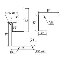 """Угол наружный сложный составной к фасадным панелям """"Оригинал"""" ТермаСтил, 312+125"""