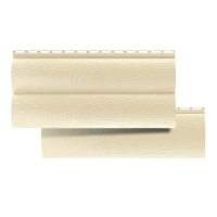 Сайдинг виниловый Альта-профиль блок хаус, двухпереломный, цвет бежевый