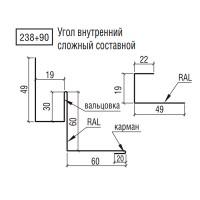 Угол ТермаСтил внутренний сложный составной, 238+90