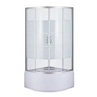 Душевой угол Sansa S-90/40 (2), профиль сатин, стекло прозрачное-lines, 90х90х196 см