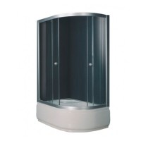 Душевой угол Sansa S120-80/45L, профиль сатин, стекло шиншилла, 120х80х197 см
