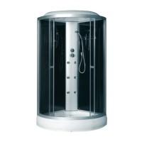 Гидробокс Fabio TMS-885/15, профиль сатин, стекло серое, заднее стекло черное, 90x90x215 см
