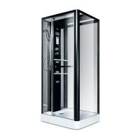 Гидробокс Miracle NA113-3A, профиль черный, стекло прозрачное, задняя стенка и крыша зеркальные, 90х110х215 см
