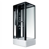Гидробокс Miracle NA115-3A, профиль черный, стекло прозрачное, задняя стенка и крыша зеркальные, 90х110х215 см