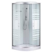 Душевая кабина Sansa 7790A, профиль сатин, стекло прозрачное-lines, заднее стекло белое, 90x90x215 см