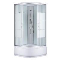 Душевая кабина Sansa 7790A (2), профиль сатин, стекло прозрачное-lines, заднее стекло белое, 90x90x215 см
