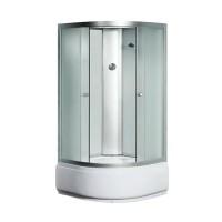 Гидробокс Sansa 800/40, профиль сатин, стекло фабрик, заднее стекло белое, 90x90(40)x215 см